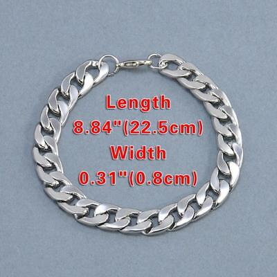Silver Men's Stainless Steel Link Punk Chain Bracelet Wristband Bangle Jewelry 4