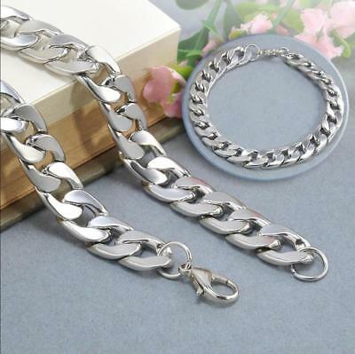 Silver Men's Stainless Steel Link Punk Chain Bracelet Wristband Bangle Jewelry 7