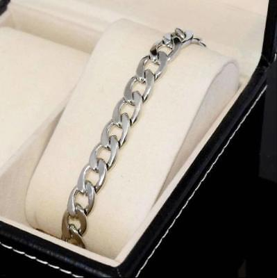 Silver Men's Stainless Steel Link Punk Chain Bracelet Wristband Bangle Jewelry 6