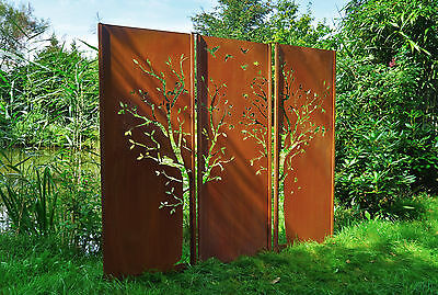 gartenwand sichtschutz wand triptychon baum stahl rost 225x195 cm eur 645 00 picclick de. Black Bedroom Furniture Sets. Home Design Ideas