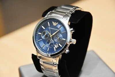 New Genuine Emporio Armani Mens Ar2448 Watch Blue Dial Stainless Steel £319 Rrp 2