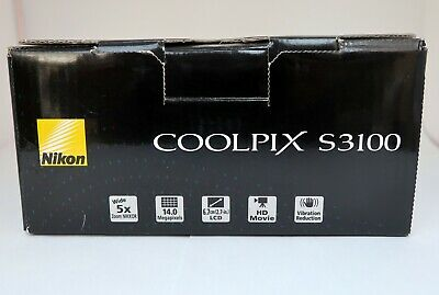 NIKON COOLPIX S3100 14mp 4,6-23,0mm. Wide 5x zoom Nikkor HD movie 2,7-in LCD VR 11