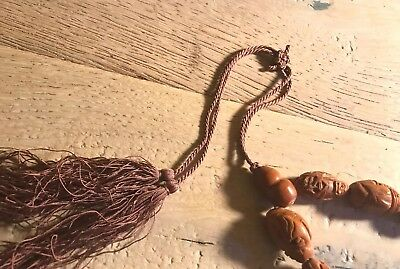 Antique Buddha Prayer Arhat Beads Olive Pits - Carved Rare And Unique 5