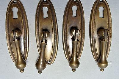 8 pulls handles solid brass door vintage old style drops knobs kitchen heavy KH 2