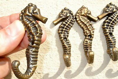 """4 small SEAHORSE BRASS HOOK COAT WALL MOUNTED HANG TROPICAL old style hook 3"""" 4"""