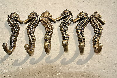 "12 small SEAHORSE BRASS HOOK COAT WALL MOUNTED HANG TROPICAL old style hook 3"" B 4"
