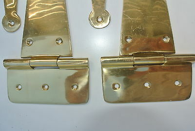 "6 Large hinges vintage POLISHED solid Brass DOOR box restore heavy 9"" long screw 6"