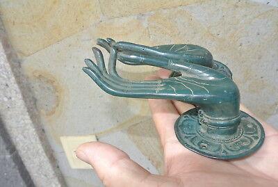 Pair elegant BUDDHA Pull handle hand brass green patina old style knob 6.5cm B 5