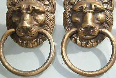 6 LION pulls handles Small heavy  SOLID BRASS old style bolt house antiques B 5
