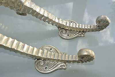 """2 small SEAHORSE solid brass door SILVER plated old style PULL handle 10"""" long B 9"""