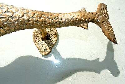 "medium MERMAID aged pure brass door PULL old style heavy house PULL handle 13"" B 3"