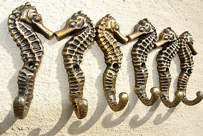 "12 small SEAHORSE BRASS HOOK COAT WALL MOUNTED HANG TROPICAL old style hook 3"" B 6"