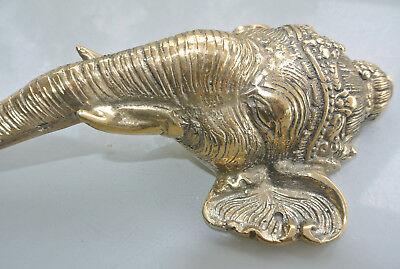 """Ganesha Elephant DOOR PULL HANDLE 11 """" long solid BRASS trunk door age 28 cm B 5"""