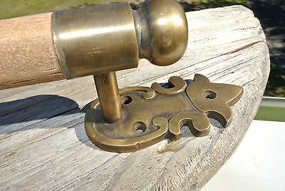 "DOOR handle pull solid brass ends wooden old vintage asian style look 13"" raw B 6"