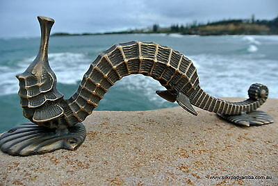 """large SEAHORSE solid brass door old style house PULL handle 13"""" heavy aged B 3"""
