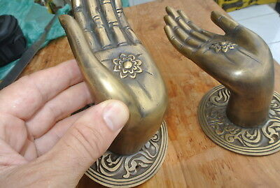 Pair large BUDDHA Pull handles hand aged heavy cast brass door old style 10 cm 2
