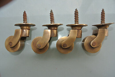 "8 screw castor chair table wheel solid brass 1.3/4 ""high castors old style lookB 6"