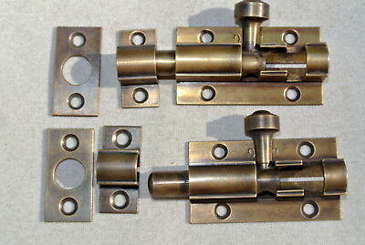 2 small BOLTS old style doors furniture heavy brass flush slide 65mm aged bolts 6