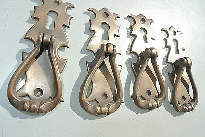 """4 small knob pulls handles door old vintage antique style drops knobs 4"""" KH 3"""