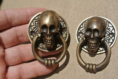 4 small SKULL head ring pull Handle cast BRASS day of the dead cabinet door 5cmB 10