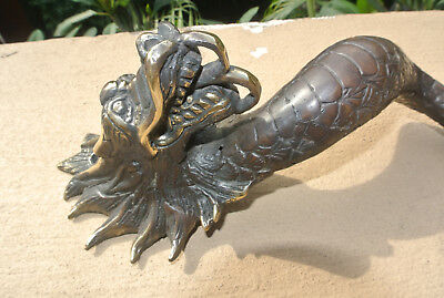 "2 Dragon door pull 30 cm aged brass vintage old style house handle 12"" long B 10"