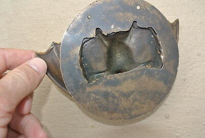 "heavy Door Knocker BAT ring old heavy SOLID cast BRASS vintage antique style 7""B 4"
