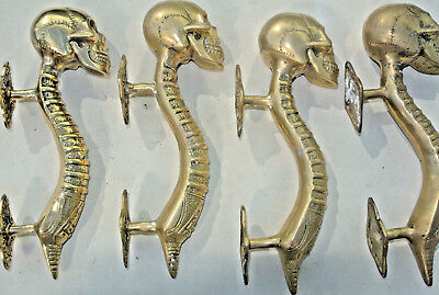 """4 small SKULL head handle DOOR PULL spine AGED  BRASS old style 8"""" B 3"""