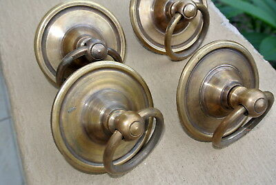 "4 small handle ring pull solid brass heavy old vintage style DOOR 3"" wide B 8"