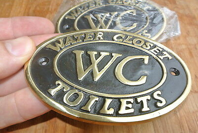"2 toilet solid brass signs "" WC "" water closet screw door cast heavy 11.5 cm B 6"