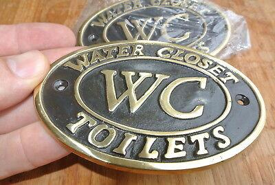 """4 toilet solid brass signs """" WC """" water closet screw door cast heavy 11.5 cm B 7"""