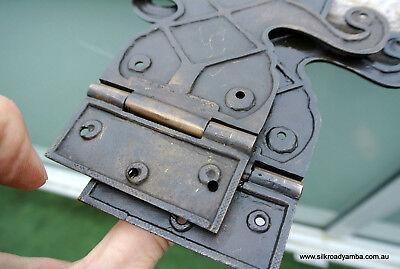 "2 Large"" FLEUR de lis"" hinges old aged style solid Brass DOORS BOX 17"" long B 5"