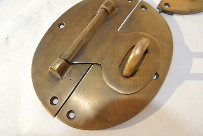 "2 large heavy HASP & STAPLE 5"" wide OVAL catch latch box door solid brass B 5"