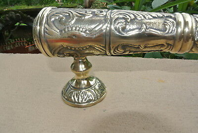 2 large engraved solid brass POLISHED door old style heavy 33 cm PULL handle B 8