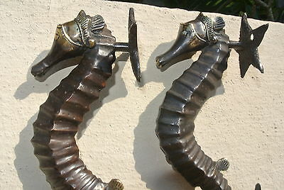 "2 small SEAHORSE solid brass door AGED old style house PULL handle 10"" pair B 9"