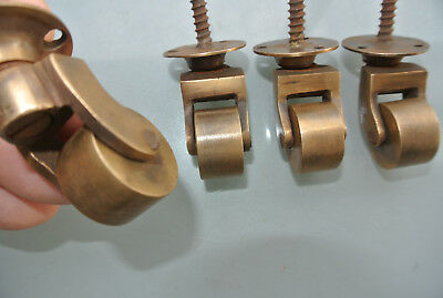 """4 screw castor chair table wheel solid brass 1.3/4 """"high castors old style lookB 6"""