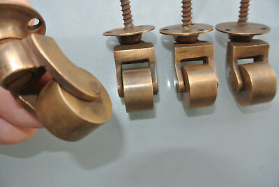 "8 screw castor chair table wheel solid brass 1.3/4 ""high castors old style lookB 9"