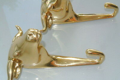 "2 nice BULL COAT HOOK solid POLISHED brass vintage old style 6"" hook heavy 5"
