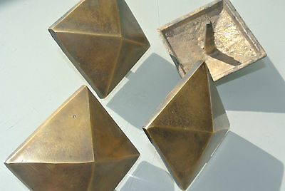 """4 brass STUDS door solid heavy furniture boxes vintage age old style 2"""" decor 3"""