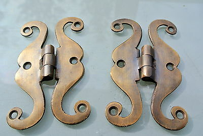 "2 small snake hinge old aged style solid Brass kitchens antiques doors 4"" 4"