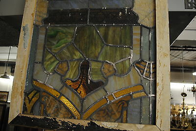 Antique Stained Glass Window,church, Flower,  multi colored, lead, vintage 5