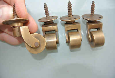 "8 screw castor chair table wheel solid brass 1.3/4 ""high castors old style lookB 4"