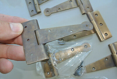 8 small hinges screws old aged style cast solid Brass DOOR BOX heavy 10cm long B 5