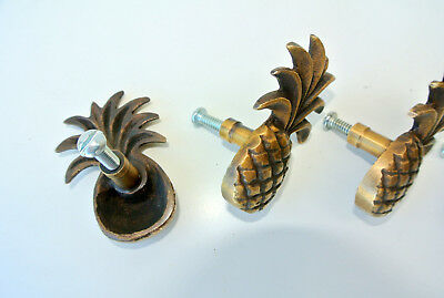4 small Pineapple handles aged solid Brass PULL knobs kitchens antiques 6cm B 10