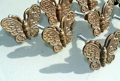 """8 heavy Butterfly handles solid Brass PULL knobs kitchens antiques 2 """" knobs B 9"""