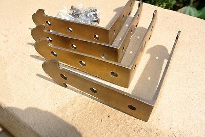 8 medium box table edge corner solid Brass antiques vintage style 10cm corners B 3