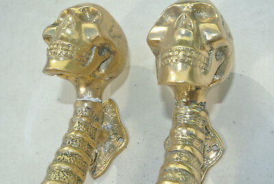 """2 small SKULL head handle DOOR PULL spine AGED  BRASS old style 8"""" B 3"""