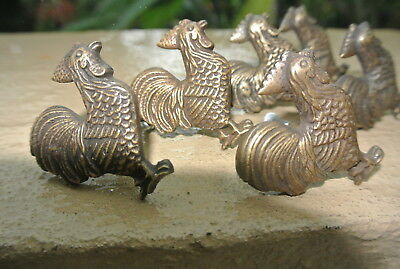 6 small CHICKEN knobs aged solid BRASS old vintage style natural 5 cm high B 8