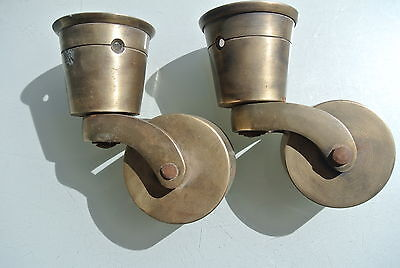 2 big CUP solid Brass foot castors wheel chairs tables old antique style castor 5