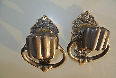 "2 Solid Brass FIST HAND Door Knocker PULL HANDLE ring 7"" aged old look heavy B 4"