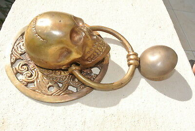 """large round SKULL head ring pull Handle BRASS 4"""" day of the dead door KNOCKER B 4"""